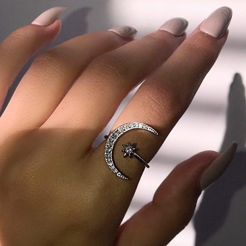Crescent Moon & Star Ring