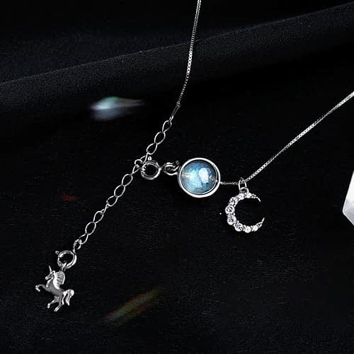 Unicorn & Moon Labradorite Necklace