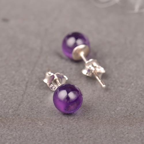Amethyst S925 Silver Earrings